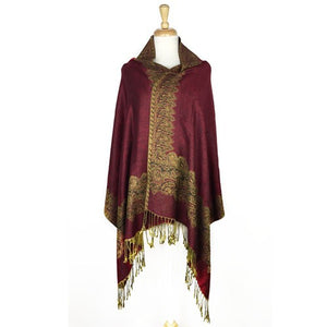 Wholesale Bulk Pack Border Pattern Pashmina Scarf-Burgundy-GDP1735