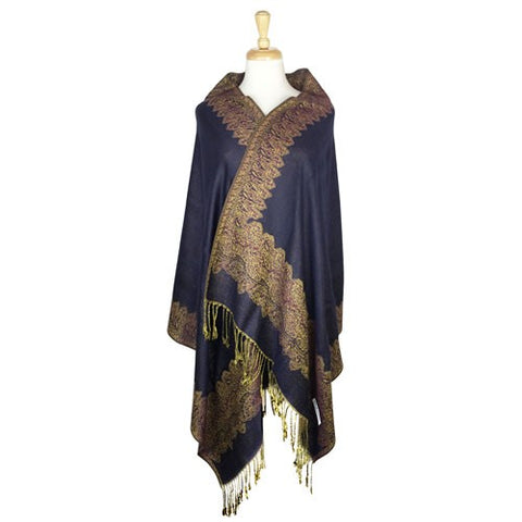 Wholesale Bulk Pack Border Pattern Pashmina Scarf-Navy Blue-GDP1733