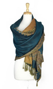 Wholesale Bulk Pack Border Pattern Pashmina Scarf-Teal-GDP1731