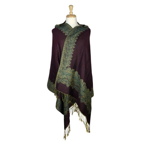 Wholesale Bulk Pack Border Pattern Pashmina Scarf-Grape-GDP1727