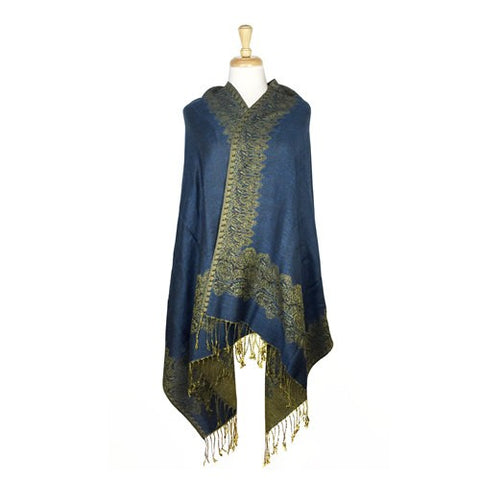 Wholesale Bulk Pack Border Pattern Pashmina Scarf-Indigo-GDP1721