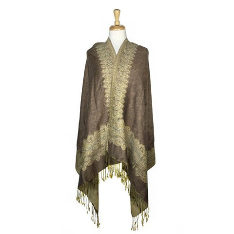 Wholesale Bulk Pack Border Pattern Pashmina Scarf-Camel-GDP1717
