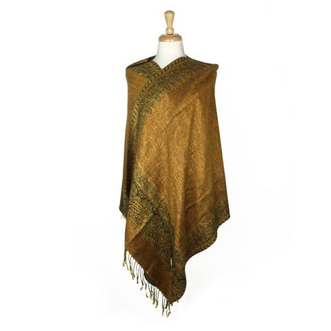 Wholesale Bulk Pack Border Pattern Pashmina Scarf-Brown-GDP1715
