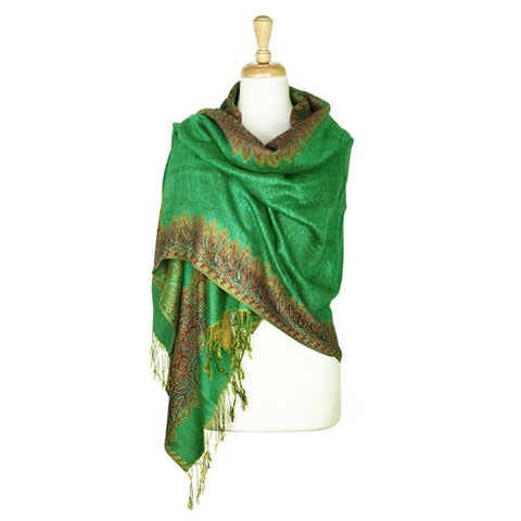 Wholesale Bulk Pack Border Pattern Pashmina Scarf-Green-GDP1713