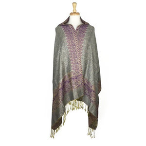 Wholesale Bulk Pack Border Pattern Pashmina Scarf-Beige-GDP1709