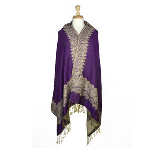 Wholesale Bulk Pack Border Pattern Pashmina Scarf-Purple-GDP1707