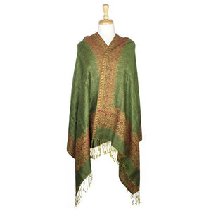 Wholesale Bulk Pack Border Pattern Pashmina Scarf-Olive Green-GDP1705
