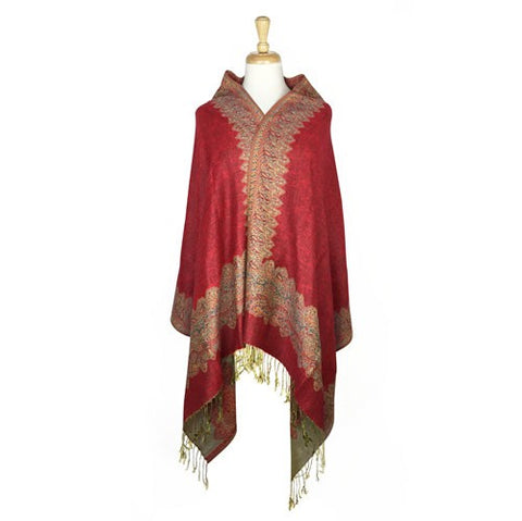 Wholesale Bulk Pack Border Pattern Pashmina Scarf-Dark Red-GDP1703
