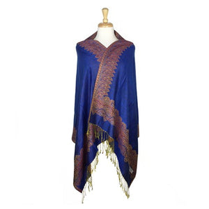 Wholesale Bulk Pack Border Pattern Pashmina Scarf-Royal-GDP1701