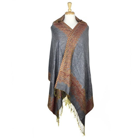 Wholesale Bulk Pack Border Pattern Pashmina Scarf-Gray-GDP1699