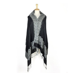 Wholesale Bulk Pack Border Pattern Pashmina Scarf-Black White-GDP1697