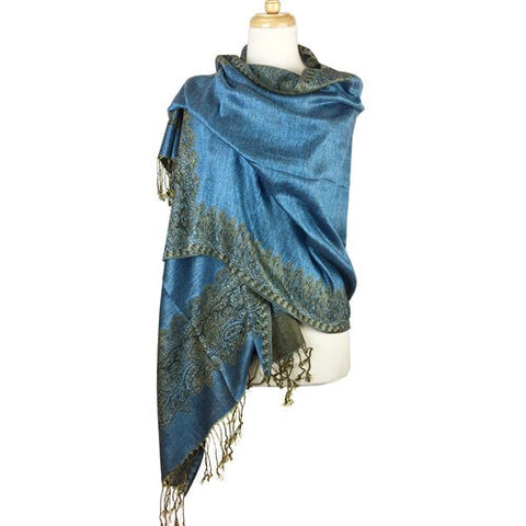 Wholesale Bulk Pack Border Pattern Pashmina Scarf- Blue-GDP1695