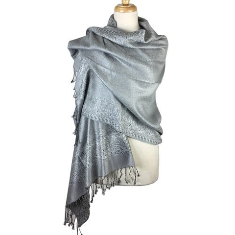 Wholesale Bulk Pack Border Pattern Pashmina Scarf- Silver-GDP1693