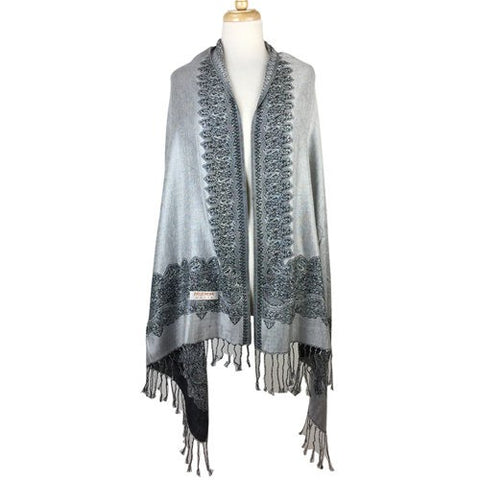 Wholesale Bulk Pack Border Pattern Pashmina Scarf- Grey-GDP1691