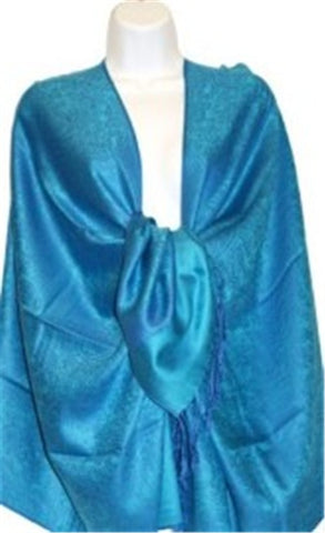 Wholesale Bright Blue Light Paisley Pashmina Scarf-GDP1605-In Bulk Pack