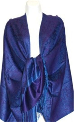Wholesale Dark Purple Blue Light Paisley Pashmina Scarf-GDP1603