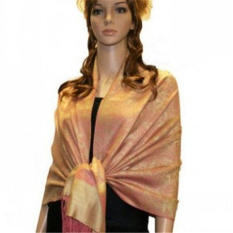 Wholesale Bulk Pack Light Paisley Pashmina Scarf-Orange W/ Yellow-GDP3755