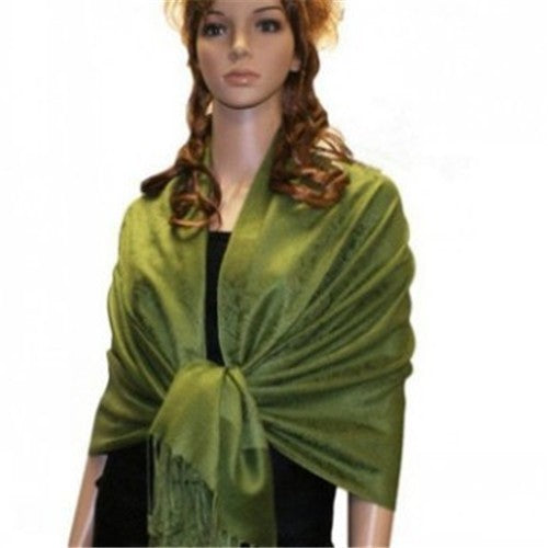 Wholesale Bulk Pack Light Paisley Pashmina Scarf-Green-GDP3751