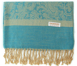 Wholesale Bulk Pack Light Paisley Pashmina Scarf-Blue W/ Beige-GDP1673