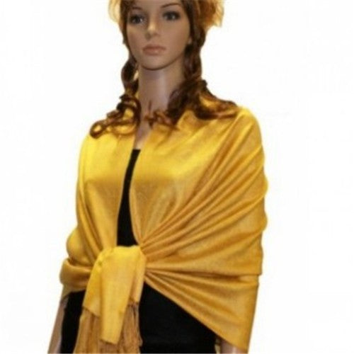 Wholesale Bulk Pack Light Paisley Pashmina Scarf-Yellow-GDP1659