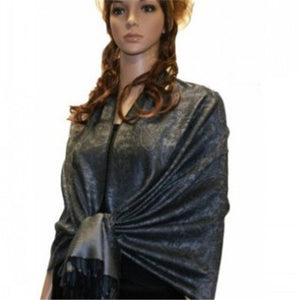 Wholesale Black Medium Grey Paisley Pashmina Scarf-GDP1633