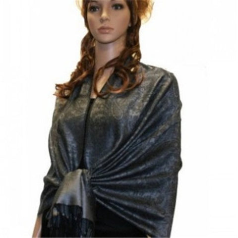 Wholesale Black Medium Grey Paisley Pashmina Scarf-GDP1633-In Bulk Pack