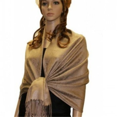 Wholesale Golden Light Brown Paisley Pashmina Scarf-GDP1625-In Bulk Pack