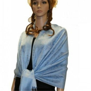 Wholesale Ice Blue Paisley Pashmina Scarf-GDP1623-In Bulk Pack