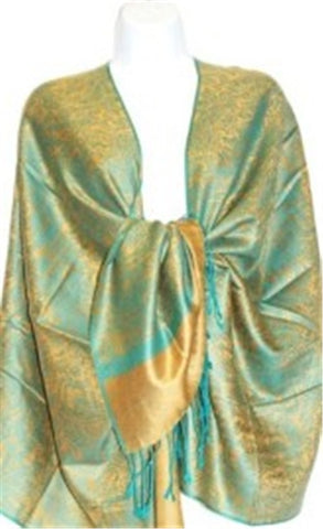 Wholesale Gold Green Paisley Pashmina Scarf-GDP1617