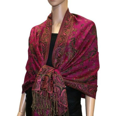 Wholesale Hot Pink Paisley Pashmina Scarf-GDP1485