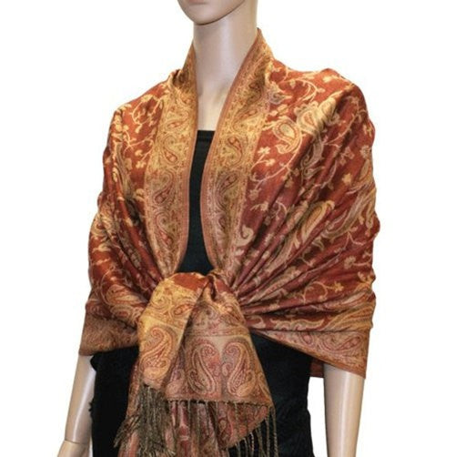 Wholesale Brown Paisley Pashmina Scarf-GDP1479