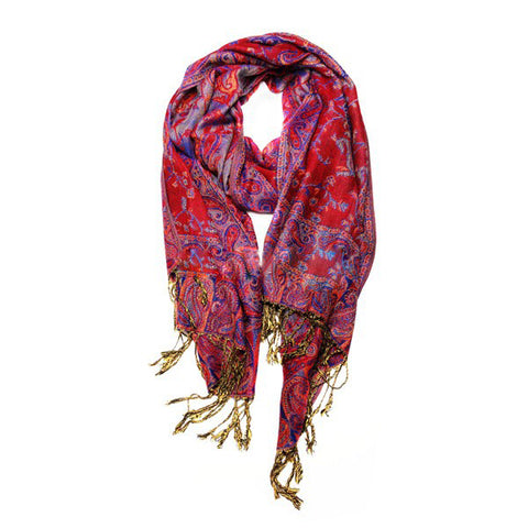 Wholesale Red Blue Paisley Pashmina Scarf-GDP1469