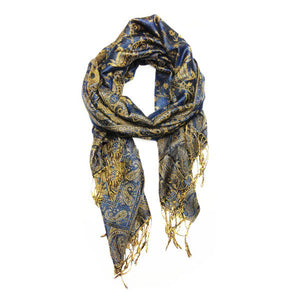 Wholesale Deep Blue Paisley Pashmina Scarf-GDP1465