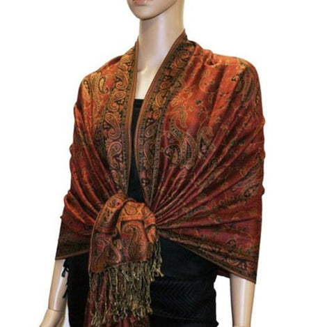 Wholesale Dark Red Paisley Pashmina Scarf-GDP1461