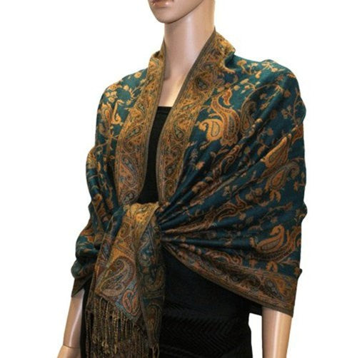 Wholesale Teal Paisley Pashmina Scarf-GDP1451