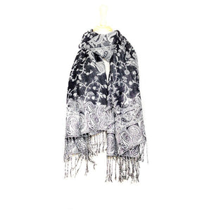 Wholesale Black Paisley Pashmina Scarf-GDP1445-In Bulk Pack