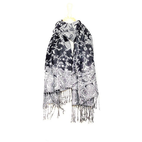 Wholesale Black Paisley Pashmina Scarf-GDP1445