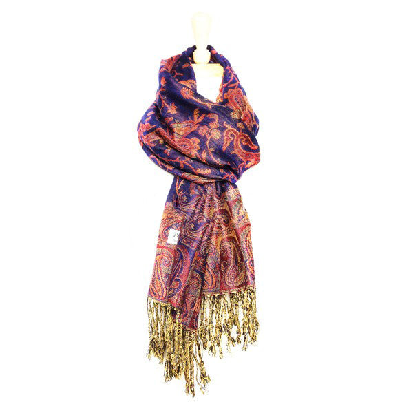 Wholesale Bright Navy Paisley Pashmina Scarf-GDP1443