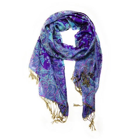 Wholesale All Bright Navy Paisley Pashmina Scarf-GDP1441-In Bulk Pack