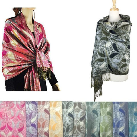 Wholesale Bulk Pack Pashmina 12-Pack Assorted Colors-GDP1593