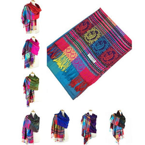 Wholesale Bulk Pack Pashmina 12-Pack Assorted Colors-GDP1587