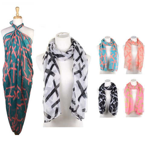 Wholesale Bulk Pack Lots 12Pc Assorted Color Women's Oblong Scarf GD059-10