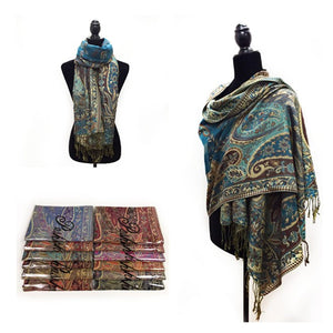 Wholesale Bulk Pack Metallic Pashmina 12-Pack Assorted Colors-GDP1581
