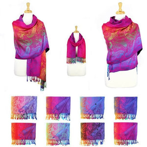 Wholesale Bulk Pack Pashmina Colorful Shawls 12-Pack Assorted Colors-GDP1579