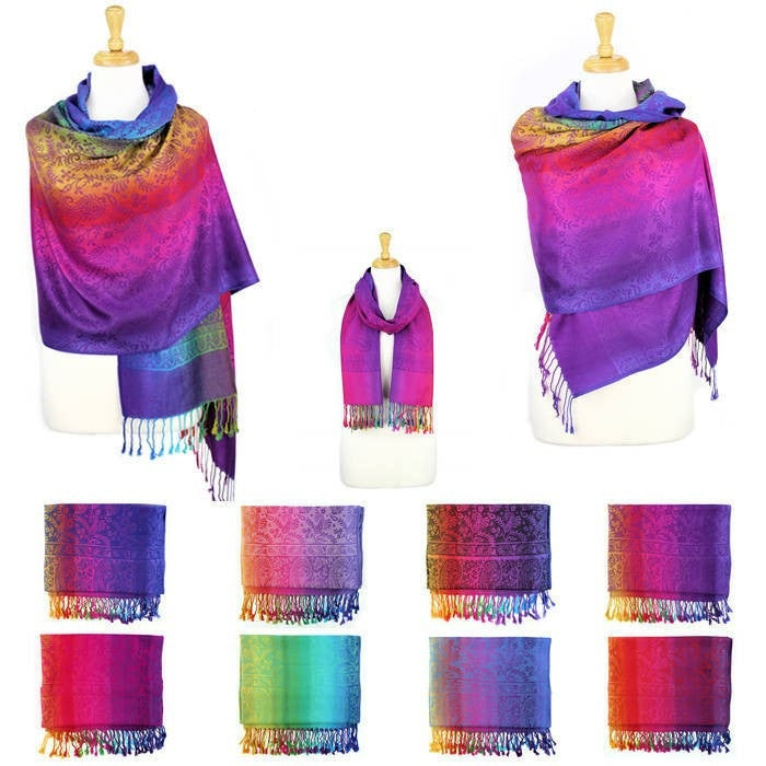 Wholesale Bulk Pack Pashmina Colorful Shawls 12-Pack Assorted Colors-GDP1575