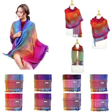 Wholesale Bulk Pack Pashmina Colorful Shawls 12-Pack Assorted Colors-GDP1573
