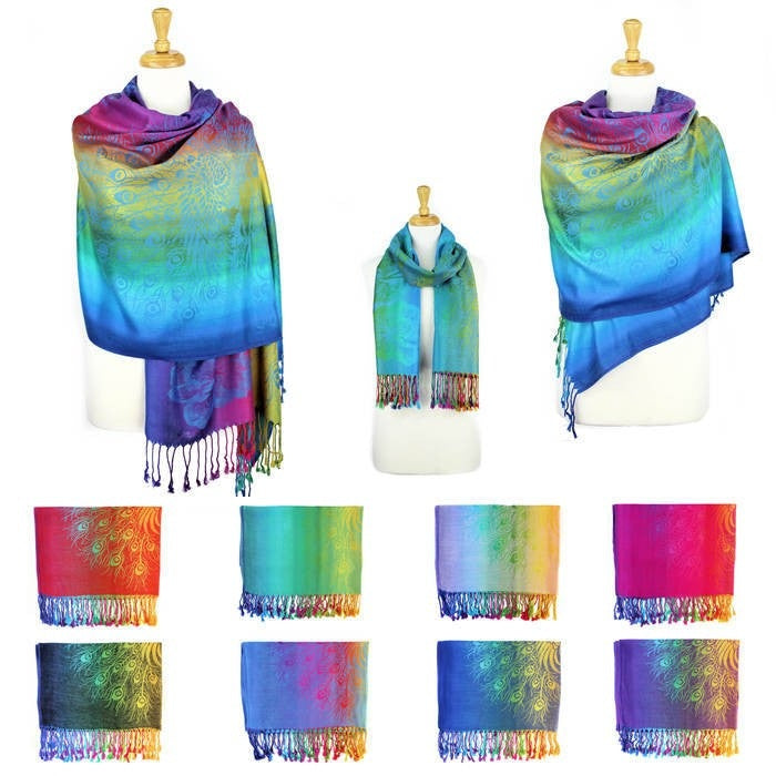 Wholesale Bulk Pack Pashmina Colorful Shawls 12-Pack Assorted Colors-GDP1569