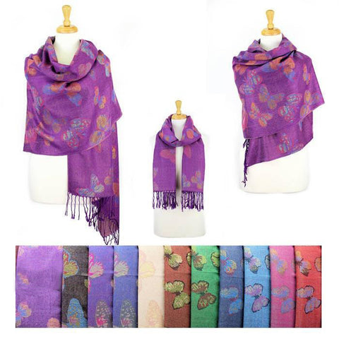 Wholesale Bulk Pack Metallic Pashmina 12-pack Assorted Colors Butterfly-GDP1557
