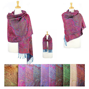 Wholesale Bulk Pack Metallic Pashmina 12-pack Assorted Colors Paisley-GDP1555