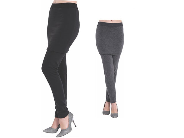 Wholesale Bulk Pack Women's Thick Faux Fur Lined Legging Attached With Skirt-GDP4231
